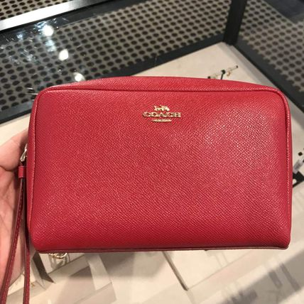 Coach Plain Leather Pouches & Cosmetic Bags