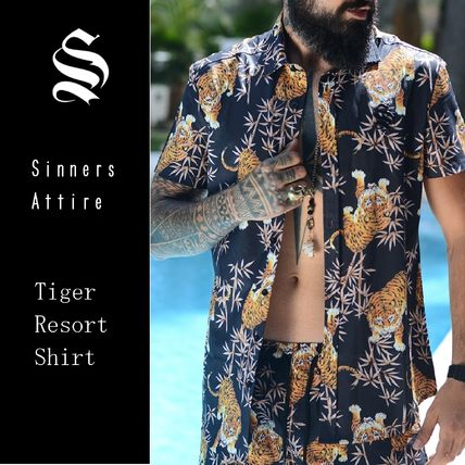 Street Style Other Animal Patterns Cotton Short Sleeves