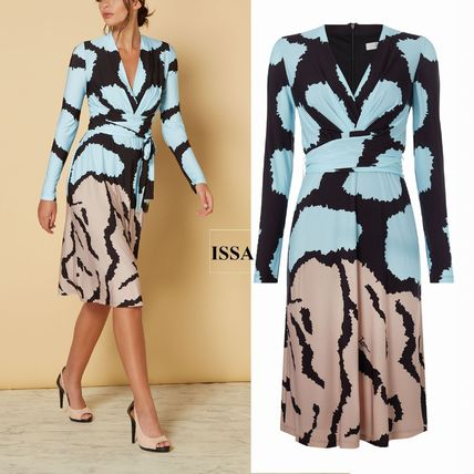 Issa London 2018-19AW V-Neck Long Sleeves Medium Dresses by ワールド ... 764c99e23a7