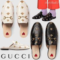GUCCI Star Other Animal Patterns Leather Elegant Style Slippers