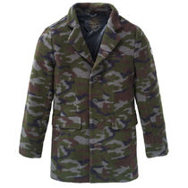 DSTREZZED Camouflage Wool Street Style Chester Coats