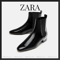 ZARA Casual Style Faux Fur Plain Ankle & Booties Boots
