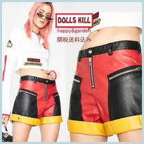 DOLLS KILL Short Casual Style Faux Fur Leather & Faux Leather Shorts