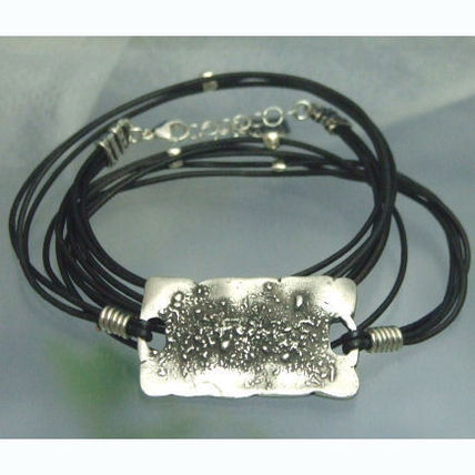 Costume Jewelry Leather Silver Bracelets
