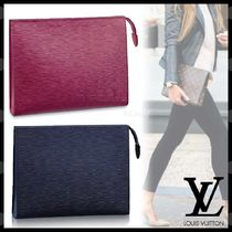 Louis Vuitton EPI Blended Fabrics Plain Leather Pouches & Cosmetic Bags