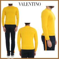VALENTINO Crew Neck Pullovers Wool Studded Street Style Long Sleeves