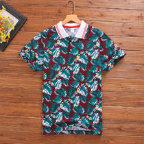 Tropical Patterns V-Neck Short Sleeves V-Neck T-Shirts