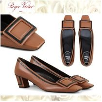 Roger Vivier Square Toe Bi-color Leather Office Style Chunky Heels