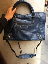 BALENCIAGA CITY 2WAY Plain Leather Elegant Style Shoulder Bags