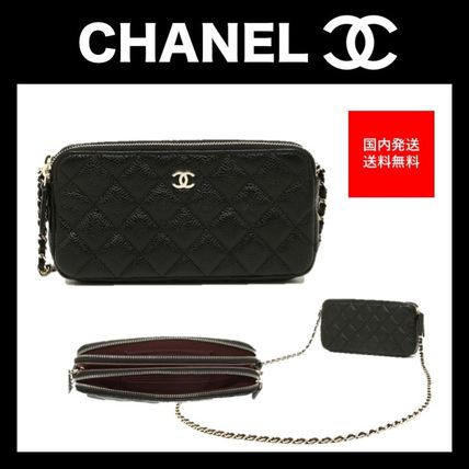 CHANEL Shoulder Bags Lambskin 2WAY Chain Plain Party Style Shoulder Bags