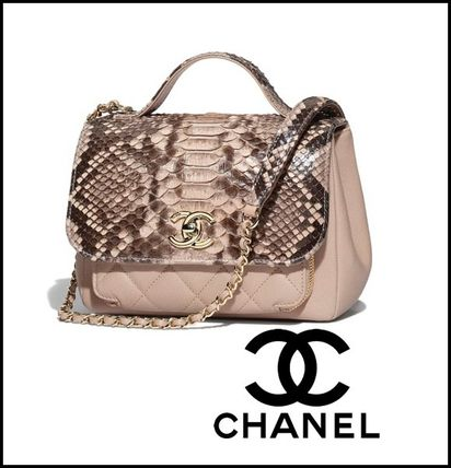 aa9b12440ea ... CHANEL Handbags Calfskin 2WAY Chain Plain Python Elegant Style Handbags  ...