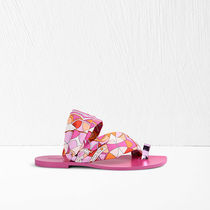 Emilio Pucci Round Toe Casual Style Street Style Bi-color Leather Mules