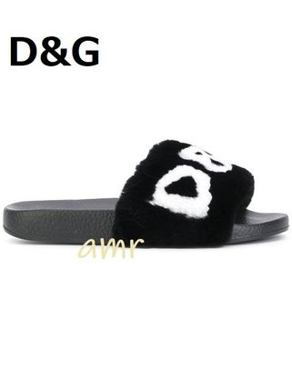 Open Toe Rubber Sole Casual Style Fur Slippers Shoes
