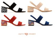 Katy Perry Open Toe Casual Style Suede Street Style Plain Block Heels