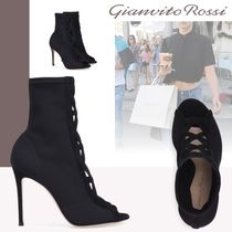 Gianvito Rossi Open Toe Casual Style Suede Pin Heels Ankle & Booties Boots
