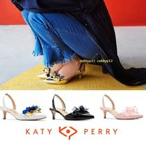 Katy Perry Blended Fabrics Plain Leather Pin Heels Elegant Style