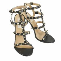 VALENTINO Open Toe Street Style Plain Leather Pin Heels Party Style