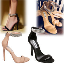 Steve Madden Open Toe Plain Leather Pin Heels Party Style With Jewels