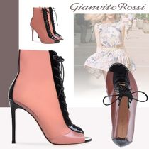 Gianvito Rossi Open Toe Casual Style Leather Pin Heels High Heel Boots