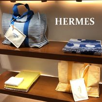 HERMES Stripes Casual Style Unisex Canvas A4 Oversized Totes