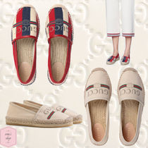 GUCCI Sylvie Stripes Casual Style Blended Fabrics Slip-On Shoes