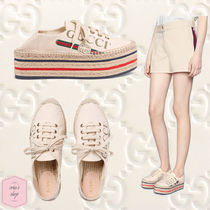 GUCCI Stripes Platform Casual Style Blended Fabrics Slip-On Shoes
