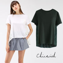 Chicwish Crew Neck Casual Style Plain Medium Short Sleeves