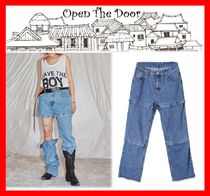 OPEN THE DOOR Casual Style Street Style Cotton Jeans