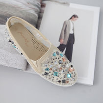 Round Toe Rubber Sole Casual Style Faux Fur With Jewels