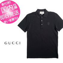 GUCCI Plain Cotton Short Sleeves Polos