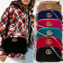 GUCCI GG Marmont Casual Style Bi-color Chain Leather Shoulder Bags