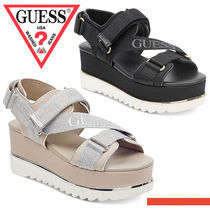 Guess Plain Toe Casual Style Blended Fabrics Bi-color