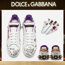 Dolce & Gabbana Heart Round Toe Casual Style Leather With Jewels