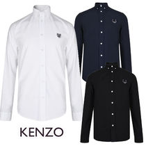 KENZO Button-down Street Style Long Sleeves Plain Cotton Shirts