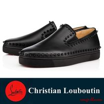 Christian Louboutin PIK BOAT Studded Plain Leather Loafers & Slip-ons