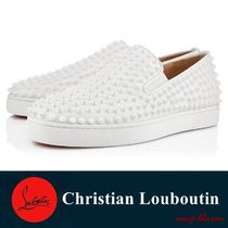 Christian Louboutin ROLLERBOY Studded Plain Leather Loafers & Slip-ons