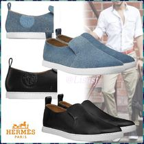 HERMES Suede Blended Fabrics Plain Loafers & Slip-ons