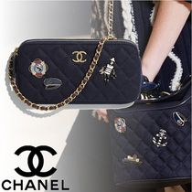 CHANEL Calfskin 2WAY Chain Plain Elegant Style Clutches