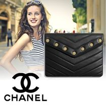 CHANEL Lambskin Studded Bag in Bag Plain Elegant Style Clutches