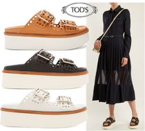 TOD'S Open Toe Leather Platform & Wedge Sandals