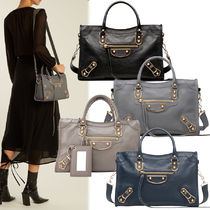 BALENCIAGA CITY Canvas 2WAY Plain Shoulder Bags