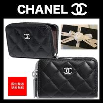 CHANEL MATELASSE Calfskin Plain Coin Purses