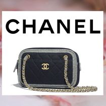 CHANEL Bi-color Chain Plain Elegant Style Shoulder Bags