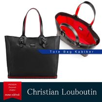 Christian Louboutin Calfskin Studded A4 2WAY Plain With Jewels Totes