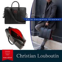 Christian Louboutin Calfskin Studded A4 2WAY Plain With Jewels