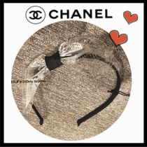 CHANEL ICON Blended Fabrics Elegant Style Hair Accessories