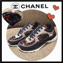 CHANEL SPORTS Wedge Casual Style Unisex Blended Fabrics Bi-color Leather