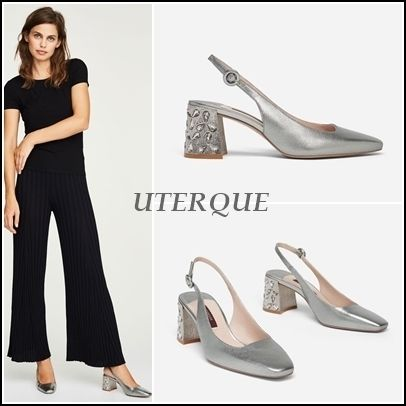 Square Toe Plain Leather Block Heels With Jewels