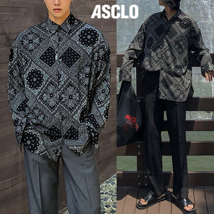 ASCLO Shirts Street Style Long Sleeves Oversized Shirts