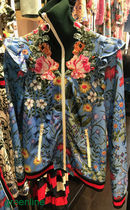 GUCCI Flower Patterns Blended Fabrics Medium With Jewels Jackets